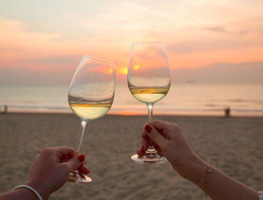 Wijnglazen strand